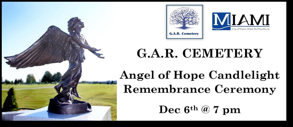 Advertisement for Angel of Hope Candlelight Remembrance Ceremony, Dec 6th 2018 at 7pm